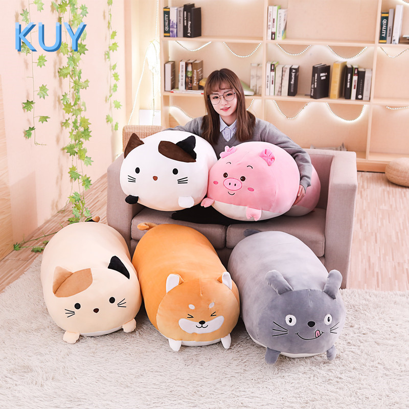 60/90CM New Giant Cute Plush Toys Stuffed Animal Doll Lovely Cat Dog Pig Toroto Sofa Pillow Cushion Kids Appease Toy Home Decor