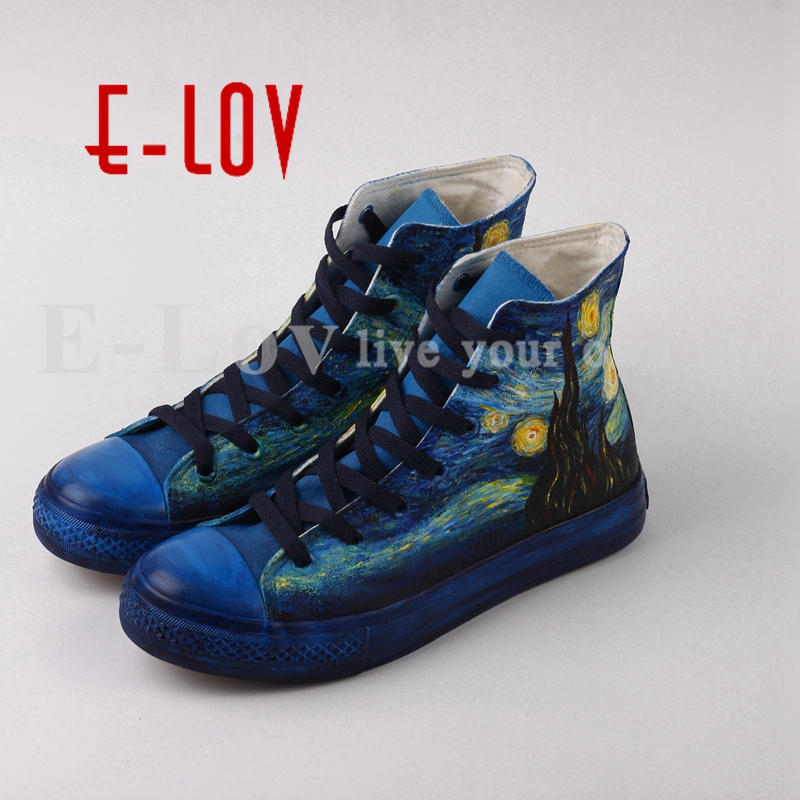 E-LOV Customized Famous Starry Night Hand Painting Canvas Shoes High Top Women Casual Leisure Shoes Design Valentine Gifts e lov japanese fresh style watermelon pattern women hand painted casual shoes painting platform shoes canvas shoes personalized