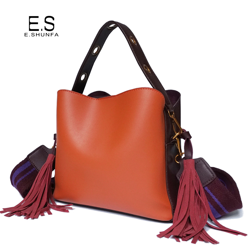 New Fashion Shoulder Bag Women 2018 PU Leather Bucket Bag Handbag High Quality Hit Color Casual Shoulder Bags With Tassel