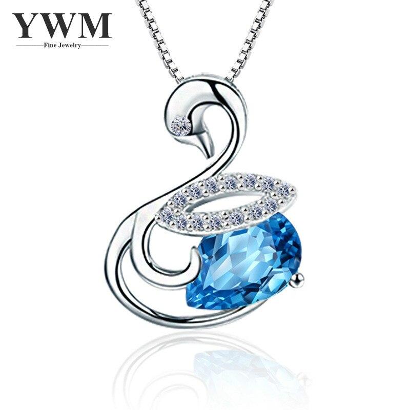 YWM 925 стерлінгів срібло Swan Love кулон - Вишукані прикраси