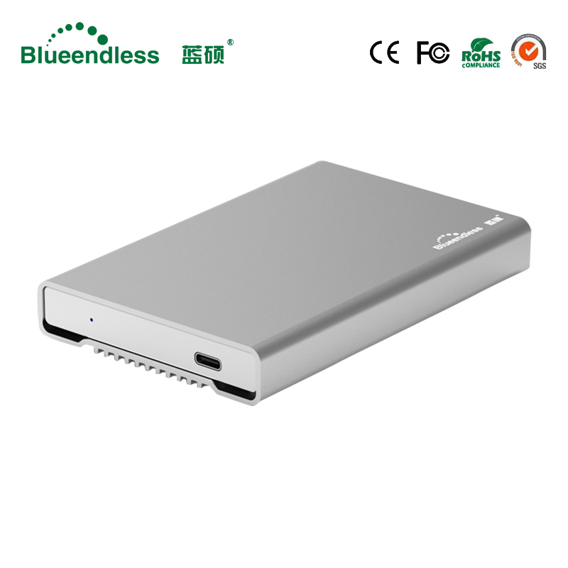 New Aluminum HDD Enclosure 2 5 Mobile Hard font b Disk b font Case Type C