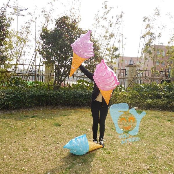 Купить с кэшбэком 3pcs/lot Inflatable Water Pool Toys Pink/Blue/Purple Ice cream Cone Swimming Float Pool Fun Raft Boia Piscina