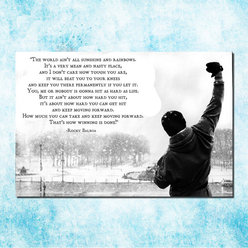 Rocky Balboa Motivational Quote Art Silk Canvas Poster Print 13x20 24x36inch Inspirational Wall Picture Home Living Room Decor In Painting
