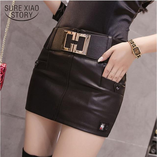 54cf6835c29d9e 2019 printemps mode femmes Skinny nouveau Slim Fit PU cuir jupes Mini jupe  courte noir couleur unie femme 1908 50