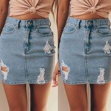 Женские узкие рваные потертые Юбки миди, Джинсовая юбка, повседневные синие джинсовые юбки, поступление женских джинсовых юбок с высокой талией