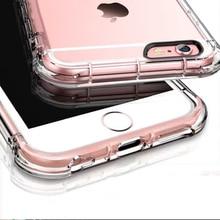 Высокое качество анти-стук case для iphone 6 6s 6 plus case силиконовые для iphone 6s case тпу прозрачная крышка 360 полный защитный + стекло