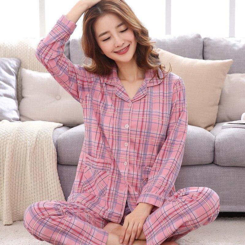 New Plaid Cotton Pyjamas Turn-down collar Winter Pijamas Mujer Girl Women   Pajamas     Sets   Pocket Femme Long Sleeve Sleepwear XXXL