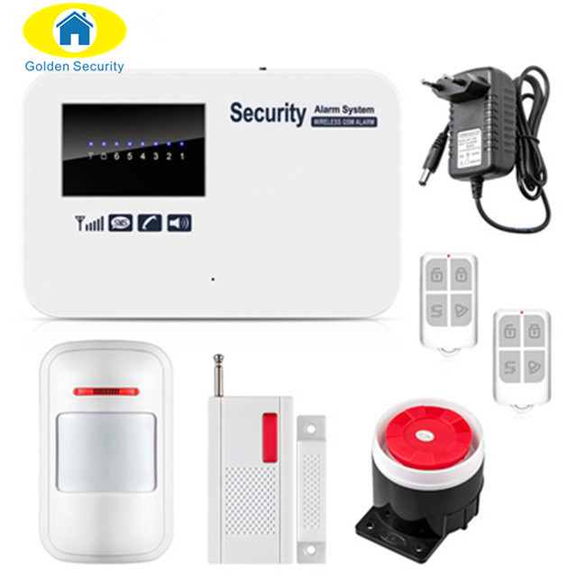 Golden Security Wireless GSM Home Alarm System SMS Autodial House Home Security System Intruder Alarm Russian/English Voice new safurance wireless lcd gsm sms autodial alarm security home house burglar intruder system home safety alarm mainframe kits