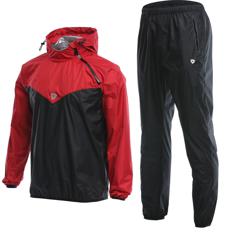 Men Workout Sauna Suit Set Sport Jackets and Pants Suit Quick Dry Hooded Gym Clothing Running