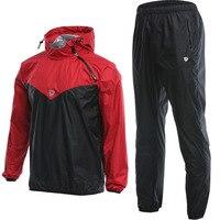 Men Workout Sauna Suit Set Sport Jackets and Pants Suit Quick Dry Hooded Gym Clothing Running Training Jogging Enfant Garcon