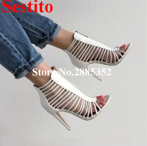 Sestito Botines Mujer 2018 White Sexy Hollow Out Open Toe High Heel Zipper Studded Summer Sandals Casual Short Boots Women silver and gold short boots women sandals hollow out back zipper open toe high heel stilettos plus size fold ankle boots