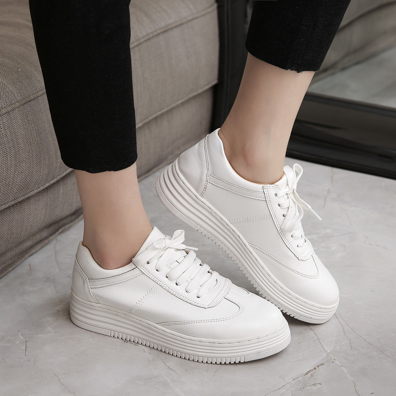 a48e1fccd dwayne Teahoo Genuine Leather Women Sneakers Fashion Pink Shoes for Women  Lace up White Shoes Creepers Platform Shoes-in Women's Pumps from Shoes on  ...