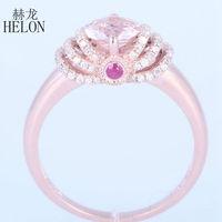 منام helon فاتن الأزياء والمجوهرات وارتفع الذهب الصلبة 14 كيلو 0.7CT مورغانيتي 0.3 الماس و الياقوت الاشتباك الزفاف الجميلة حلقة