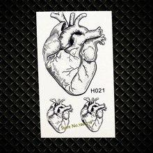 Real Heart Designs Waterproof Black Temporary Tattoo MEn Fake Flash Transfer Tattoos paste GH021 Women Makeup Body ARm Tattoo(China)