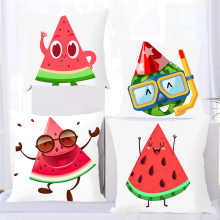 Fuwatacchi Cute Emoticon Pillow Covers Cartoon Watermelon Doll  Cushion for Home Sofa Chair Decoration White Pillowcases