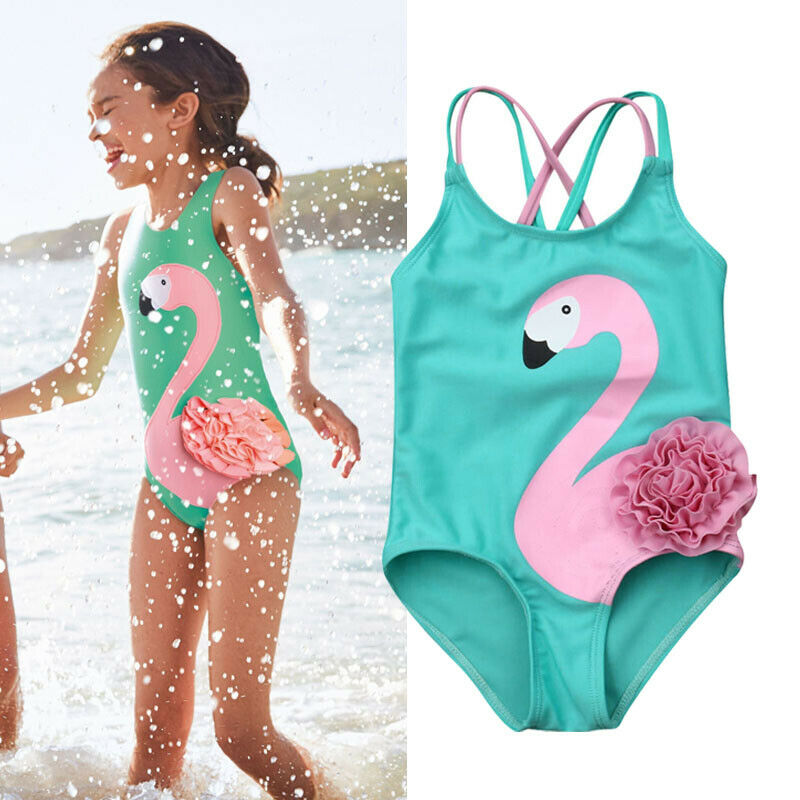 USA Toddler Kid Baby Girl Flamingo Floral Bikini Swimwear Swimsuit Beach Bathing