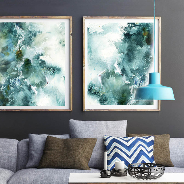 Abstract Nautical Waves Wall Art Prints Sea Inspired Watercolor Painting Emerald Green Living Room Decor