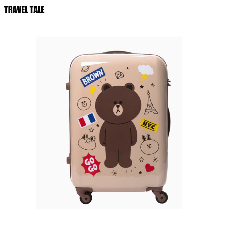 "TRAVEL TALE 20""24""inch spinner cabin luggage cute travel suitcase for girls"