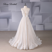 Rosabridal A line Wedding Dress beading Deep V neck sleeveless nude tulle Sample Beading Open Back Bridal Gown 2019 new design