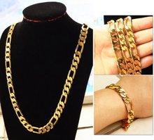 Винтажный набор из крупного желтого золота мужской браслет +