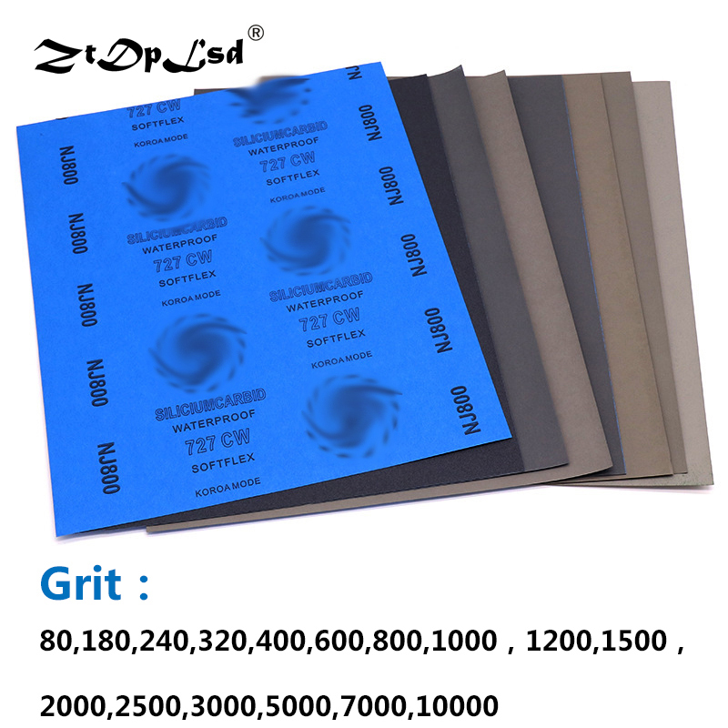 ZtDpLsd 1Pcs Grit 80-10000 Wet And Dry Polishing Sanding Wet/dry Abrasive Sandpaper Paper Sheets Surface Finishing Made