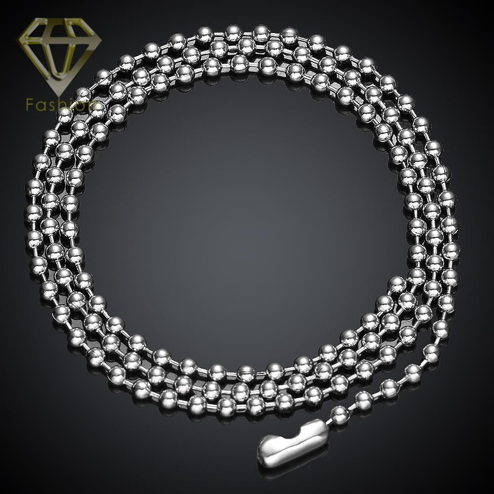2017 New Necklace Jewelry 316L Stainless Steel Chain Necklace 2.4MM Wide 18/20/22/24 Inches Necklace Long Beads Chain