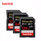 SanDisk Extreme Pro SD Card 16GB 32G SDHC class 10 64G 128G 256G SDXC UHS-I 95M/S Memory Card Support V30 4K for Digital Camera