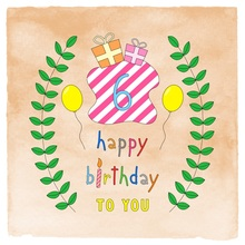 Laeacco Happy 6th Birthday Cartoon Gift Pattern Photography Backgrounds Customized Photographic Backdrops For Photo Studio