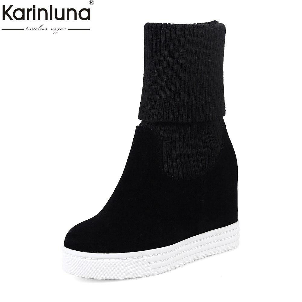 Karinluna/2018 г. Большие размеры 34–44 зимние ботинки на плотном слое меху Для женщин сапоги женская обувь слипоны внутренняя на высоком каблуке бо...
