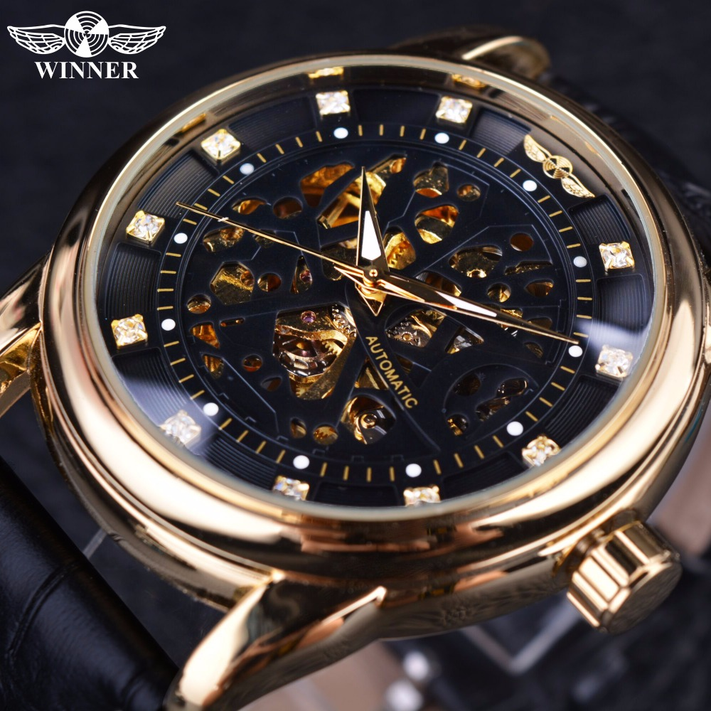 Winner Classic Genuine Leather Series Royal Diamond Design Black Golden Case Skeleton Men Watch Top Brand Luxury Automatic Watch карабин black diamond black diamond rocklock twistlock