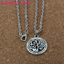 20Pcs Mom You Are The Heart Of Our Family Tree Life Chain Antique silver Fashion Pendant Necklace A-176d