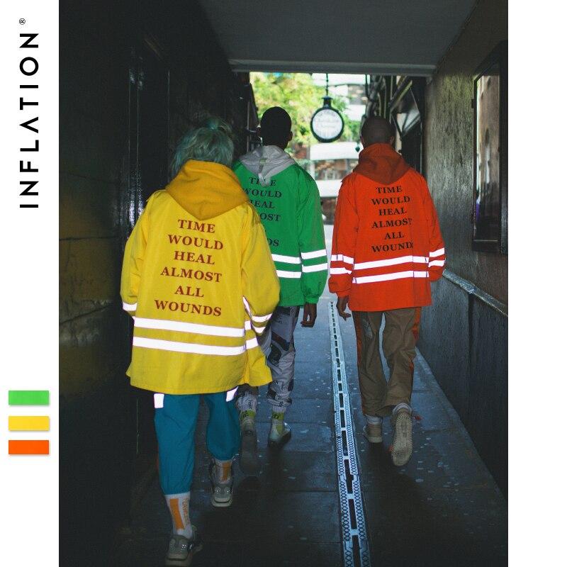 Inflação reflexiva listrado carta jaqueta 2019 moda estilo fluorescente cor hip hop streetwear masculino/feminino fino jaqueta 8758 w