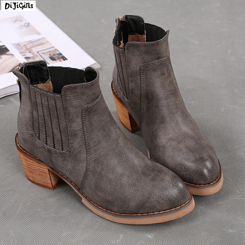 Women Fashion Thick Heel Fur Ankle Boots Round Toe Plus Size Shoes Short Booties for Winter yh08 winter jacket 2016 winter coat women parkas luxury fur coat plus size cotton padded down coats women wadded jackets warmth