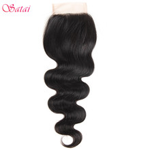 Satai 4*4″ Lace Closure Body Wave 100% Human Hair 10-18 inch Natural Color Remy Hair 1 Piece Only