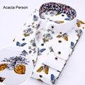 2017 Новая Мода Прилив Мужчины Шелк Хлопок Blend Блузка Золотой красный цветочный печати однобортный Дядя Повседневная Рубашка Топы