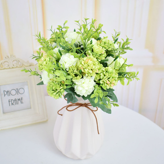 Silk Hydrangea artificial flowers bouquets for home wedding table ...