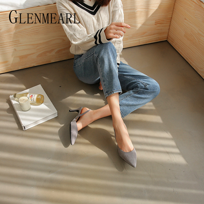 Image 4 - Women Sandals High Heels Summer Brand Woman Pumps Thin Heels Party Shoes Pointed Toe Slip On Office Ladie Dress Shoe Plus SizeDE-in High Heels from Shoes