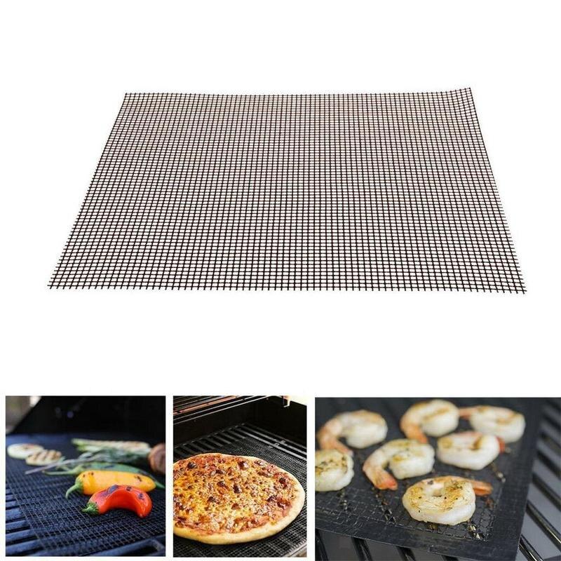 BBQ Mat In Grid Vorm Non-stick BBQ Grill Mesh Barbecue Bakken Liners Herbruikbare Teflon Koken Vel Hittebestendigheid Koken Tool