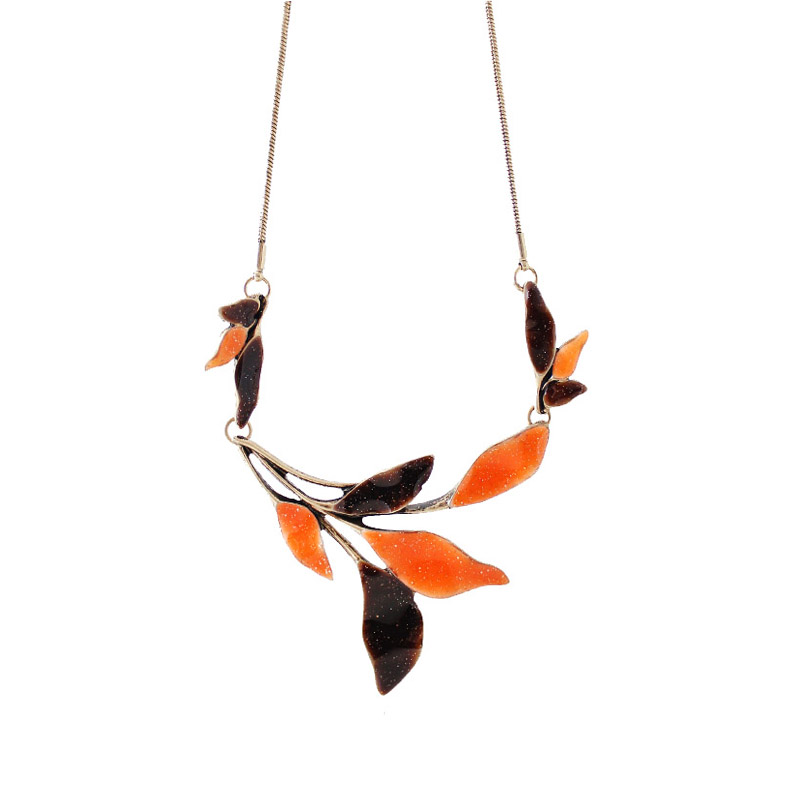 New Fashion Plant series orange brown leaves short necklace For Women Factory Jewelry Wholesale Free Shipping ...