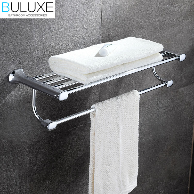 BULUXE Brass Bathroom Accessories Towel Bar Rack Holder Chrome Finished Wall Mounted Bath Acessorios de banheiro HP7711