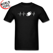 American Football In A Heartbeat Black Popular Tshirts Rugby Ball Europe Sweatshirts Fashion Print New T Shirt Men Custom Gift(China)