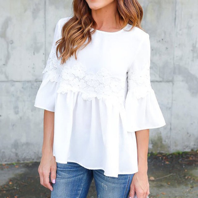2017 Summer White Blouses Women Shirts Flare Sleeve Blusas Female Loose Casual Office Shirt Blouse Tops Sleeve Blusa Femme