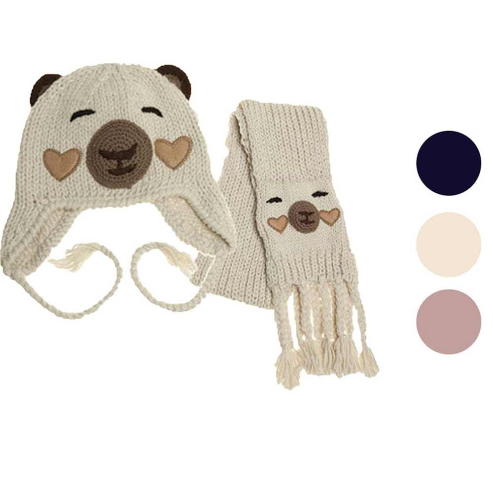 Hot Sale Baby Hats Cute Winter Warm Newborn Baby Kid Plush Beanie Hat Head Cap Scarf Sets Boy Girl Warm Hats
