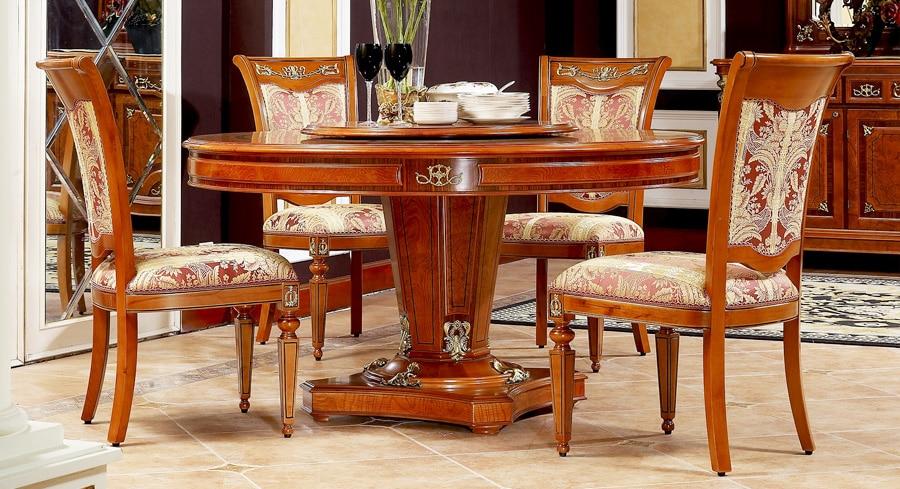 Estilo moderno exquisito madera maciza hechos a mano mesa de comedor redonda en mesas de comedor - Mesas comedor madera maciza ...