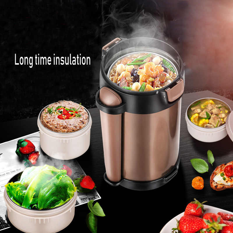 Double-Wall Vacuum Lunch Box 24 Hours Insulation Food Container Adult Kids Thermos Bucket Free Heat Preservation Bag and Spoon