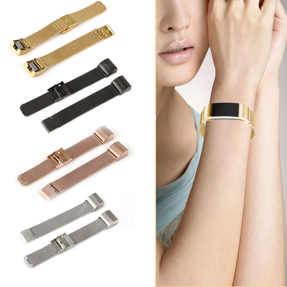 Luxury Brand Milanese Loop Stainless Steel Metal Watch Band Strap For Fitbit Charge 2 Straps Black