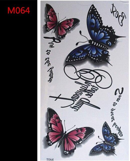 3d Naklejka Tatuaż Motyl Kolor List Projekt Folia Tymczasowe Tattoo