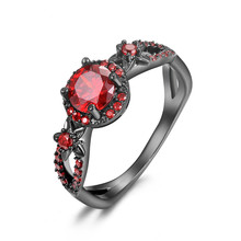 Fashion Flower Shiny Red Purple Ring Red Garnet Women Charming Engagement Jewelry Black Gold Filled Promise Rings Bijoux Femme(China)