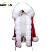 QIUCHEN PJ6005 real fur parka with real fox fur Hood and placket  women red jacket with rex rabbit fur lining high quality