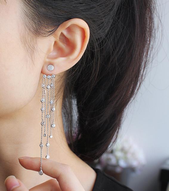 Famosa marca de jóias de luxo Cubic Zirconia brincos longos borla para mulheres